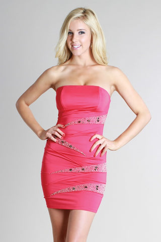 Strapless Stunner Dress - Hot Pink