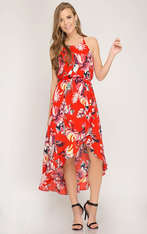 Summer Day Dreams Floral High Low Dress - Red