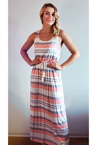 Peach and Gray Racerback Maxi Dress