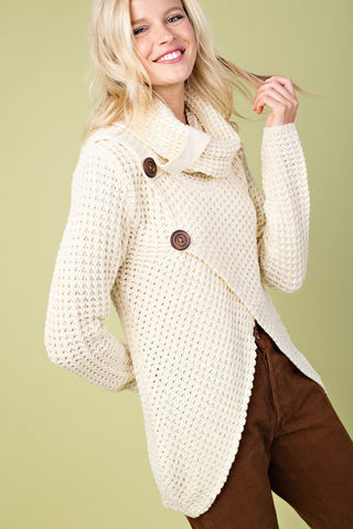 Crisp Fall Air Cowl Neck Sweater - Ivory