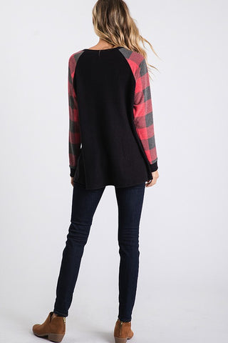 Black and Red Buffalo Plaid Tunic Top