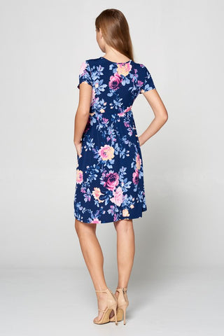 Short Sleeve Floral Dress - Navy