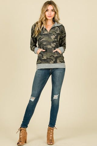 Camo Zip Up Sweatshirt