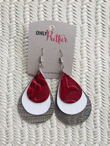 Layered Leather Teardrop Earrings - Red and Pewter