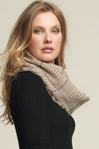 Glen Check Infinity Scarf - Taupe