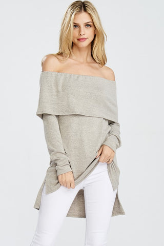 High Low Off Shoulder Sweater - Taupe