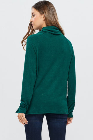 Cozy Calls Asymmetrical Cowl Neck Top - Green