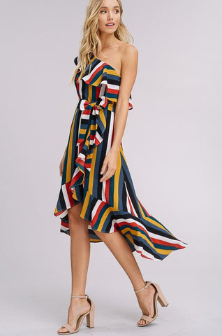 Striped One Shoulder Midi Dress