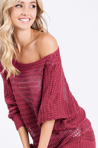 Loose Knit Lightweight Sweater - Burgundy