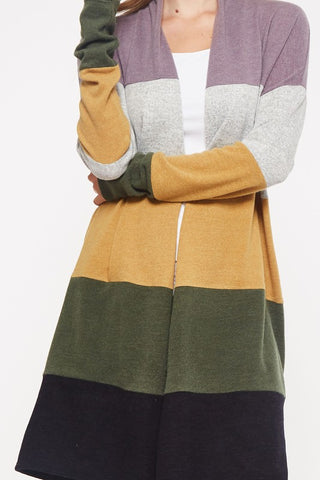 Fall Colors Color Block Sweater - Purple, and Heather Gray