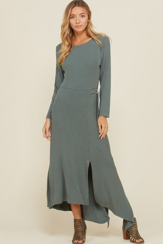 Asymmetrical Rib Knit Maxi Dress - Sage