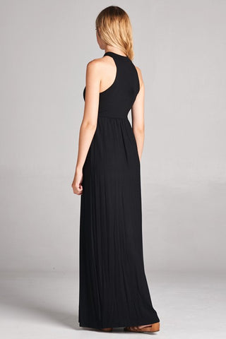 Solid Racerback Elegant Maxi Dress - Black