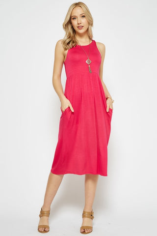 Spring Sunshine Racerback Midi Dress - Hot Pink