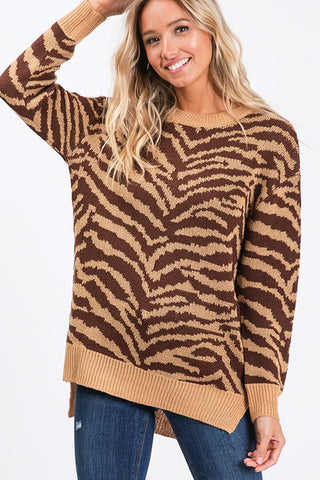 Chasing Chic Animal Print Sweater - Taupe