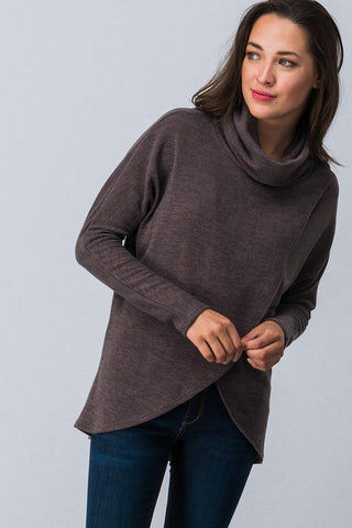 Front Wrap Cowl Neck Top - Mocha