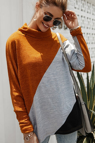 Coffee Date Color Block Cowl Neck Top - Rust