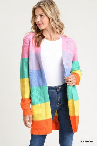 Fall Color Block Cardigan - Rainbow