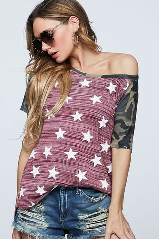 Camo and Stars Top - Blue