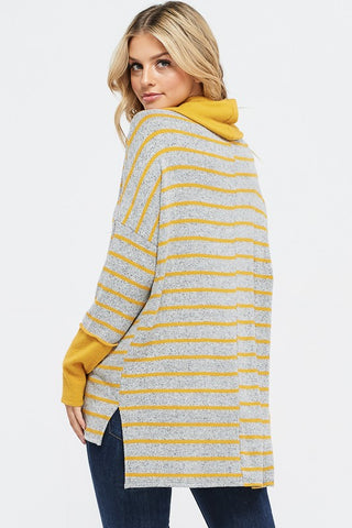 Cowl Neck Striped Top - Mustard