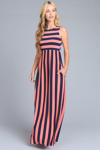 Candy Striped Maxi Dress - Coral