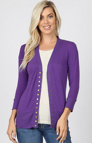 Snap Up 3/4 Sleeve Cardigan - Dark Purple