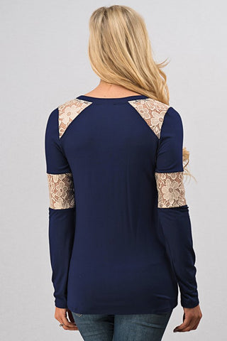 Lace Detail Top - Navy