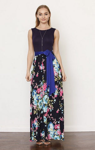 Spring Flowers Tank Dress - Solid Navy
