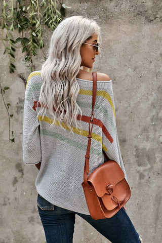 Striped Casual Sweater  - Grey