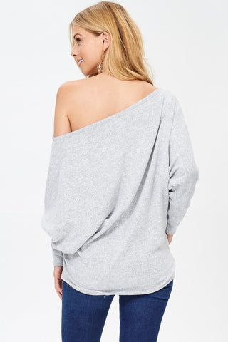 Slouchy Off Shoulder Top - Heather Grey