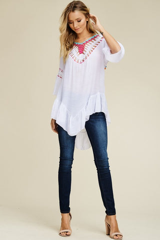 High Low Boho Tunic - Off White