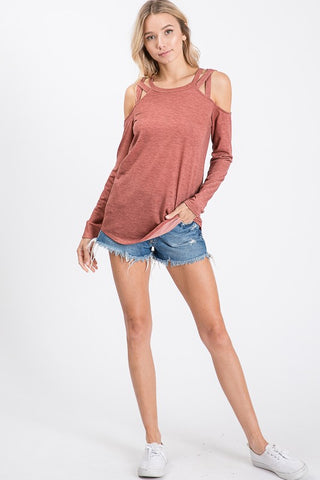 Criss Cross Long Sleeve Top - Marsala