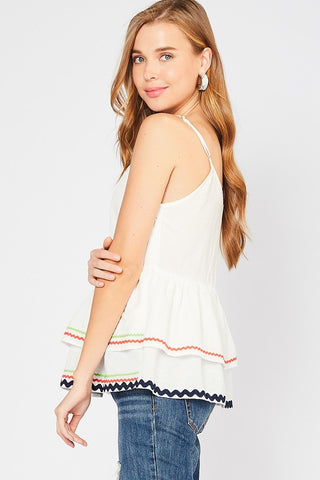 Ribbon Trimmed Tank Top - Ivory
