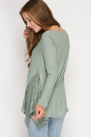 Lace Detail Ribbed Top - Slate Green