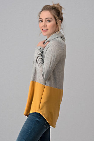 French Terry Color Block Cowl Neck Top - Mustard
