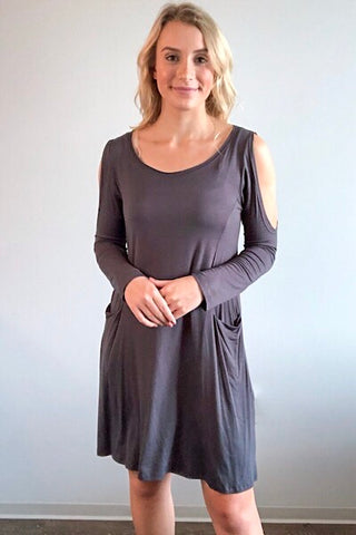 Cold Shoulder Swing Dress - Charcoal