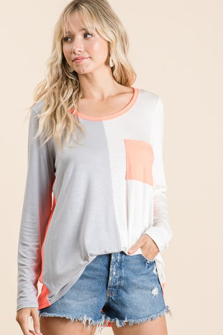 Color Block Top with Patch Pocket - Mint