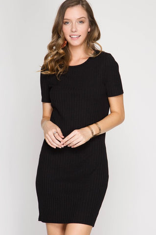 Bodycon Short Sleeve Dress - Black