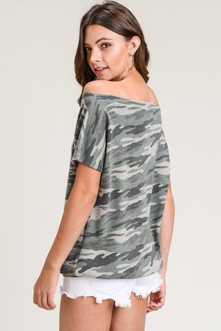 Short Sleeve Off Shoulder Camo Top