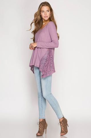 Lace Detail Ribbed Top - Mauve