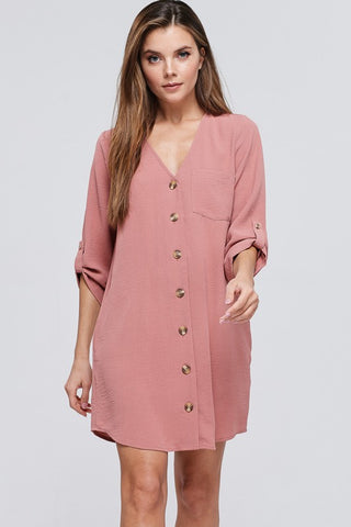 Button Down Shift Dress - Blush