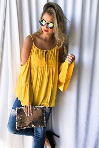 Adjustable Strap Cold Shoulder Top - Mustard