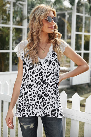 Lace Sleeve White Leopard Print Top