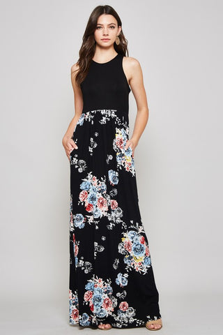 Night Garden Floral Racerback Maxi Dress - Black