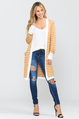 Striped Midi Cardigan - Yellow