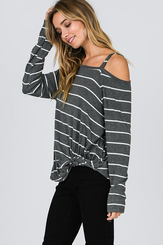 Asymmetrical Cold Shoulder Top - Grey