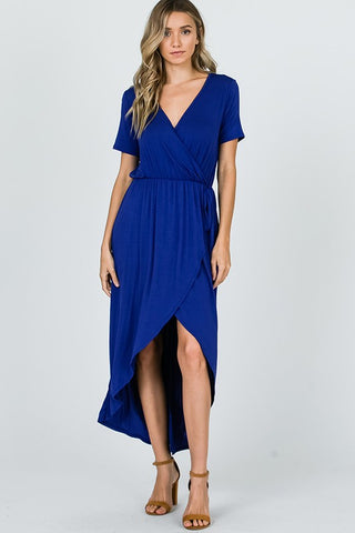 High Low Wrap Dress - Royal