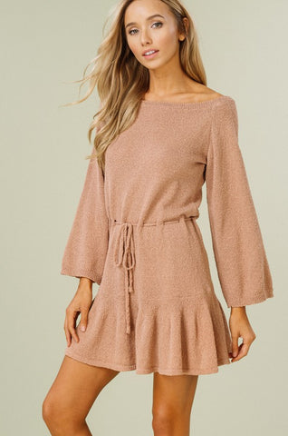 Flouncy Sweater Dress - Mocha