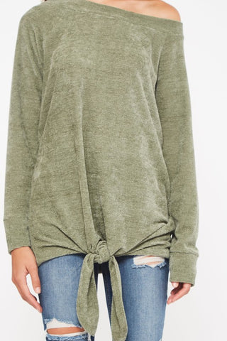 Fuzzy Tunic Top with Tie Bottom - Olive