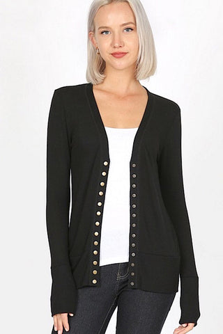 Snap Up Cardigan - Black
