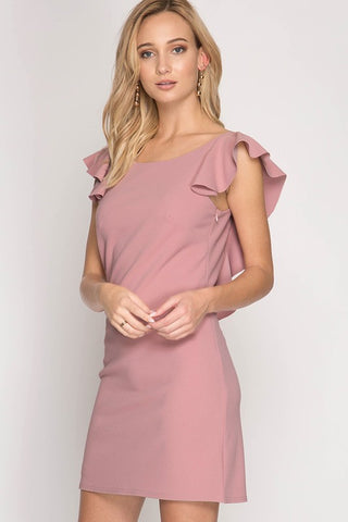 Midnight Surprise Ruffle Sleeve Dress - Rose